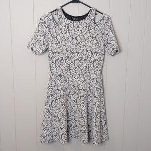 TopShop White Floral Cold Shoulder Dress